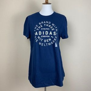 NWT Adidas extra large women's shirt blue white